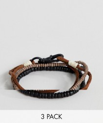 Icon Brand brown leather & beaded bracelets in 3 pack - Brown