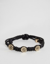 Icon Brand Bullet Cord Bracelet In Black - Black