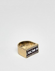 Icon Brand Burnished Gold Square Signet Ring With Pattered Fabric Detail - Gold