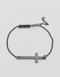 Icon Brand Chain Bracelet With Cross In Gunmetal - Silver