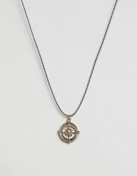 Icon Brand Compass Cord Necklace - Black