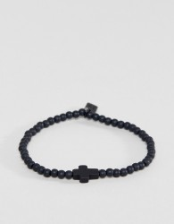 Icon Brand Cross Beaded Bracelet In Black - Black