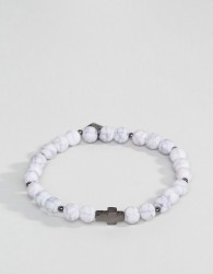 Icon Brand Cross Beaded Bracelet In White - White