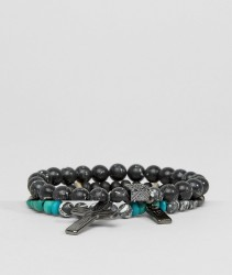 Icon Brand Cross Beaded Bracelet Pack - Multi