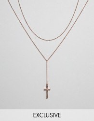 Icon Brand Cross & Chain Necklace In Rose Gold Exclusive To ASOS - Gold
