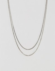 Icon Brand Double Curb Necklace In Antique Silver - Silver