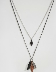 Icon Brand Feather Necklace Pack - Black