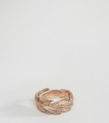 Icon Brand Feather Ring In Rose Gold Exclusive To ASOS - Gold