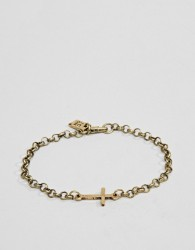 Icon Brand gold chain bracelet with cross - Gold