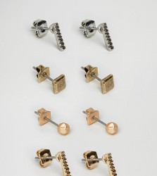 Icon Brand Gold & Silver Stud Earrings In 4 Pack - Multi