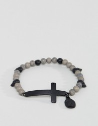 Icon Brand Grey Beaded Cross Bracelet - Grey