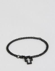 Icon Brand Hoop Lock Chain Bracelet In Black - Black