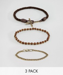 Icon Brand Leather Cross Bracelets In Pack - Brown