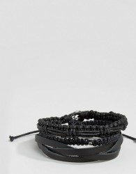 Icon Brand Leather & Woven Bracelet Pack In Black - Black