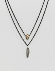 Icon Brand matte black necklace with gold & silver charms - Black