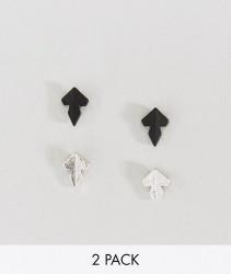 Icon Brand matte black & silver spear head stud earrings in 2 pack - Multi