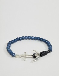 Icon Brand Navy Beaded Bracelet With Anchor Closure - Navy