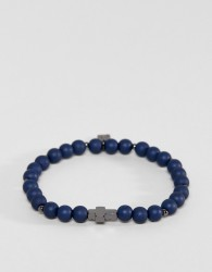Icon Brand Navy Beaded Bracelet With Cross Exclusive To ASOS - Blue