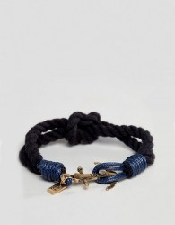 Icon Brand navy cord bracelet with anchor closure - Navy