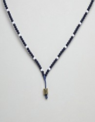 Icon Brand Navy Leather Necklace With Blue & White Beads - Navy