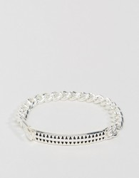 Icon Brand Premium Hound Tooth ID Bracelet In Silver - Silver