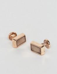 Icon Brand Rectangular Antiqued Cufflinks In Rose Gold - Gold