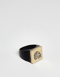 Icon Brand Signet Ring In Matte Black With Engraved Skull - Black