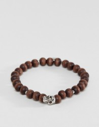 Icon Brand Skull Beaded Bracelet In Brown - Brown