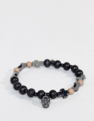 Icon Brand Skull & Cross Bracelet In Black - Black