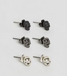 Icon Brand Skull Stud Earrings In 3 Pack - Multi