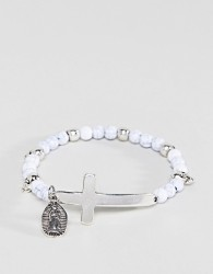 Icon Brand White Beaded Bracelet With Cross Exclusive To ASOS - White