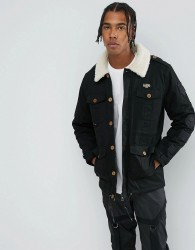 Illegal Club Parka Jacket In Black With Borg Collar And Patches - Black
