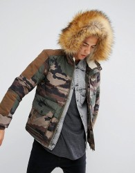 Illegal Club Puffer Jacket In Camo With Faux Fur Hood - Green