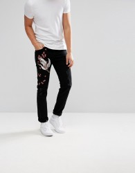 Illegal Club Skinny Jeans In Black With Embroidery - Black
