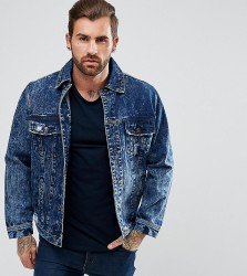 Illusive London Muscle Denim Jacket With Distressing - Blue