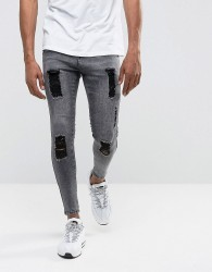 Illusive London Muscle Fit Jeans In Acid Wash Black With Distressing - Black