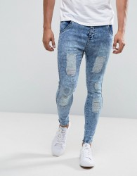 Illusive London Muscle Fit Jeans In Acid Wash Blue With Distressing - Blue