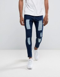 Illusive London Muscle Fit Jeans In Dark Wash Blue With Distressing - Blue