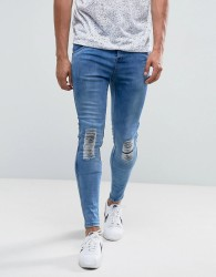 Illusive London Muscle Fit Jeans In Mid Wash Blue With Knee Rips - Blue