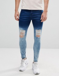 Illusive London Muscle Fit Jeans With Blue Fade And Distressing - Blue
