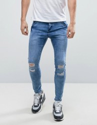 Illusive London Muscle Fit Jeans With Distressing - Blue