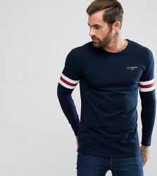 Illusive London Muscle Long Sleeve T-Shirt In Blue With Stripes - Blue
