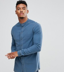 Illusive London Muscle Shirt In Blue Denim - Blue
