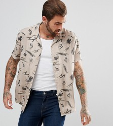 Illusive London Muscle Shirt In Stone With Retro Print - Stone