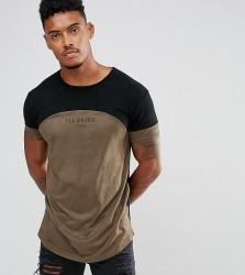 Illusive London Muscle T-Shirt In Khaki Suedette - Green