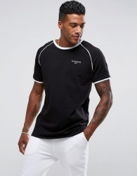 Illusive London Poly T-Shirt In Black With Piping - Black