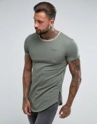 Illusive London Ringer T-Shirt In Khaki - Green