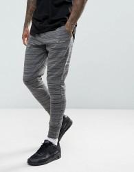 Illusive London Skinny Poly Joggers In Black Spacedye - Black