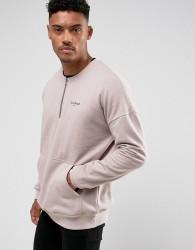 Illusive London Sweatshirt In Stone With Half Zip - Stone