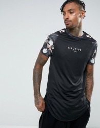 Illusive London T-Shirt In Black With Floral Sleeves - Black